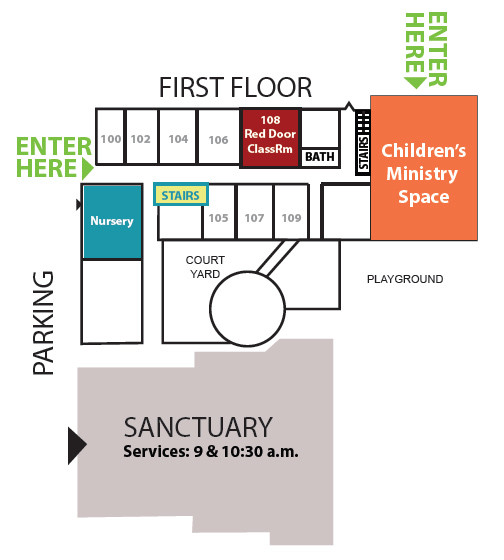 map of sanctuary side of campus
