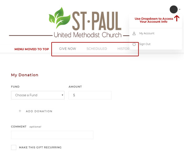 Screenshot of Giving Page